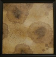 Stained Paper on stretched canvas, framed, 400 x 400mm
