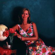 Coming up Roses Portrait of Kerry Armstrong 90 x 90cm