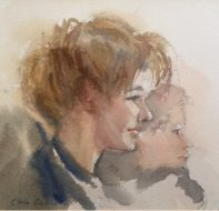 Mother and Child 1996 19 X 29cm Watercolour