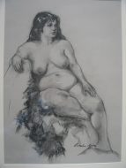 Nude with Boa Charcoal $800AUD