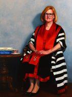 Linda Kristjanson former Vice Chancellor of Swinburne University-oil on linen-H 120cm x W 90cm