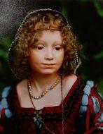 Renaissance Lady 1991, porcelain shoulder head and soft body,74cm, Winnner of Gold E.M.A trophy for best original doll at Melbourne doll show 1991