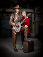 Reg Lindsay Standing Tall by Tessa Wallis. Bronze. H 1870mm w 1100mm, 800mm Ric Wallis photography.